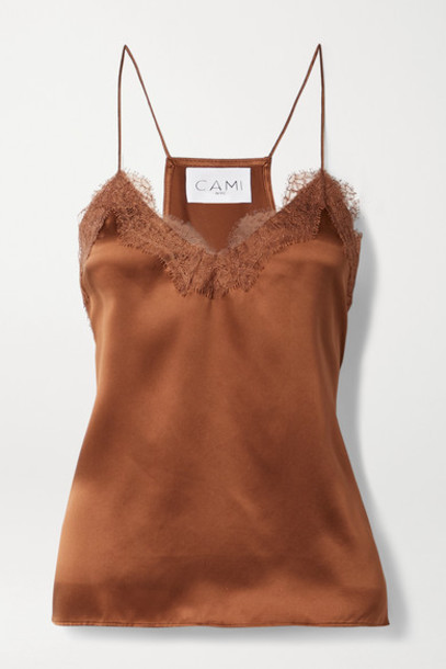 Cami NYC - Lace-trimmed Silk-charmeuse Camisole - Brick