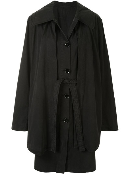 Lemaire layered single-breasted coat in black