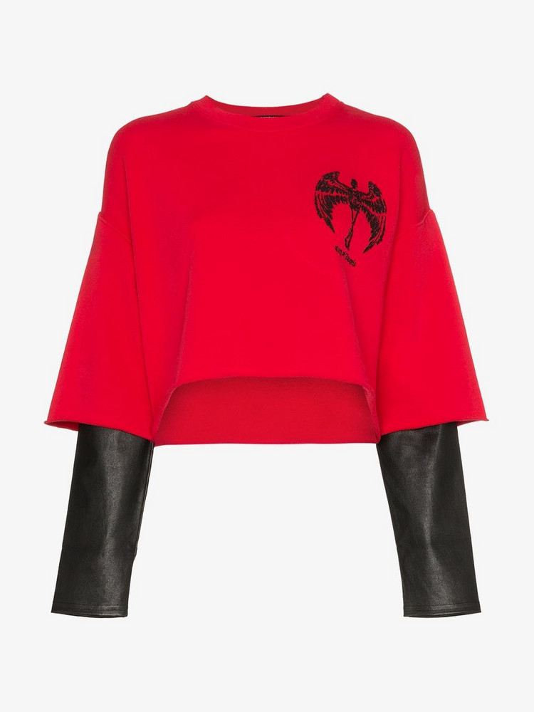 Adaptation double layer leather sleeve cotton top in red