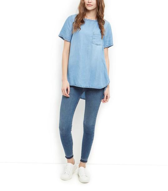 top denim top pocket t-shirt
