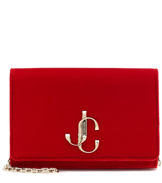 Jimmy Choo Varenne velvet clutch in red