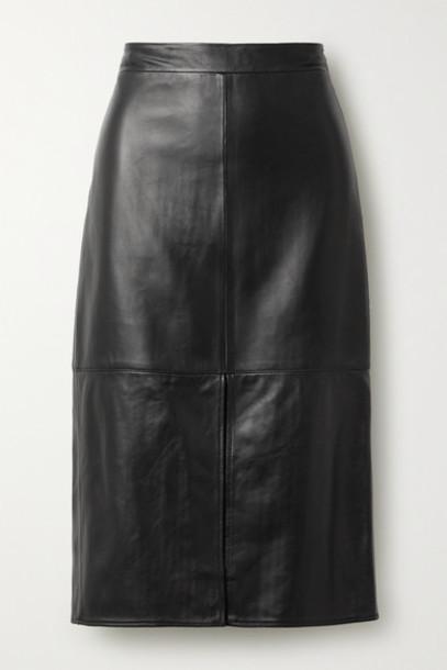 Tibi - Leather Midi Skirt - Black