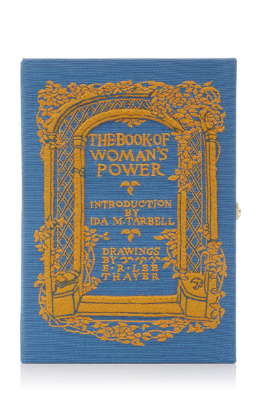 Olympia Le-Tan M'O Exclusive The Book Of Women's Power Book Clutch in blue