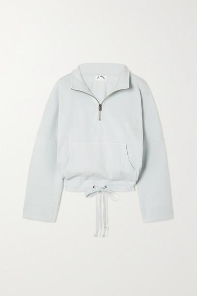 THE UPSIDE - Ezi Tiena Ribbed Cotton-blend Jersey Sweatshirt - Blue