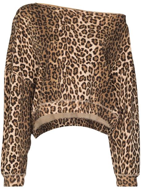 R13 Patti leopard print sweatshirt - Brown