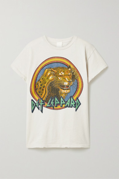 MadeWorn - Def Leppard Distressed Printed Cotton-jersey T-shirt - White