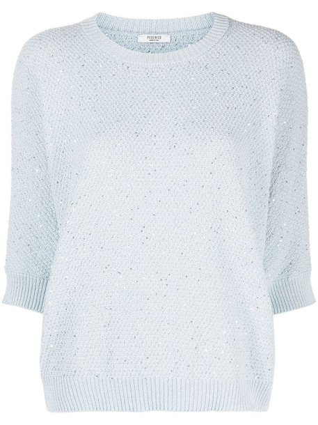 Peserico sequin-embellished sweater in blue