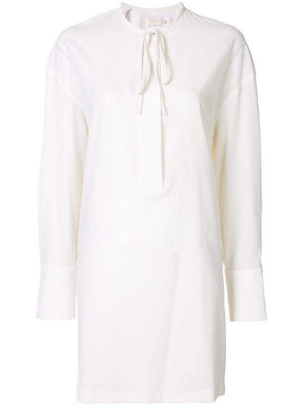 Low Classic collarless shirt dress in white