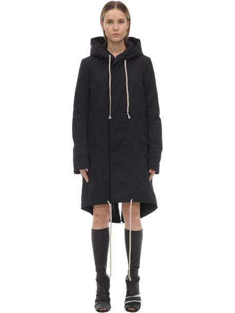 RICK OWENS Fishtail Cotton Blend Down Parka Jacket in black