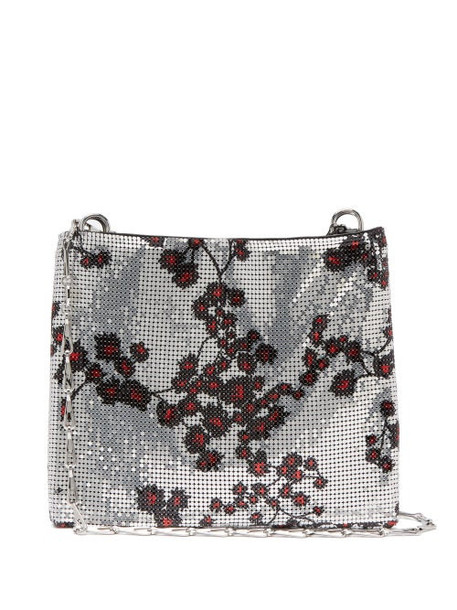 Paco Rabanne - Pixel 1969 Sakura-print Chainmail Shoulder Bag - Womens - Silver Multi