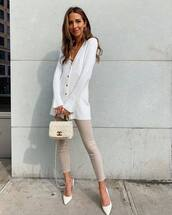 sweater,white cardigan,white shoes,pumps,skinny jeans,chanel bag,white bag