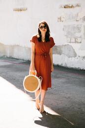 kendi everyday,blogger,dress,shoes,jewels,red dress,round bag
