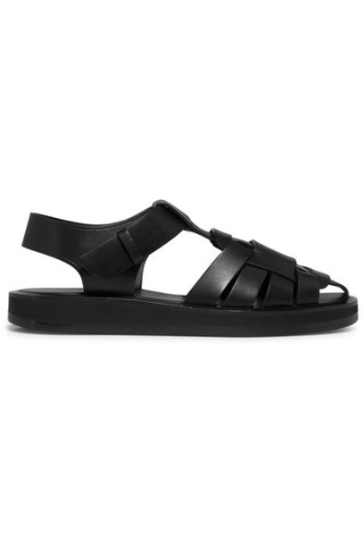 The Row - Gaia Woven Leather Sandals - Black