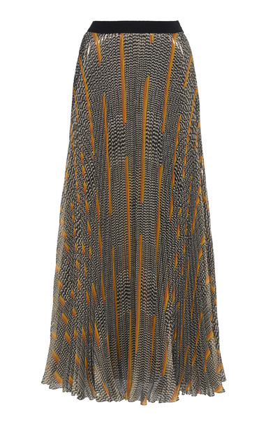 Giambattista Valli Pleated Printed Silk-Chiffon Lamé Maxi Skirt in print