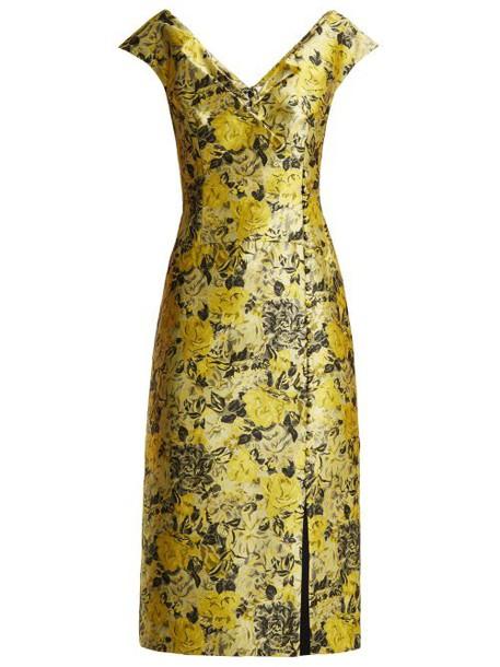 Erdem - Joyti Rose Jacquard Midi Dress - Womens - Yellow
