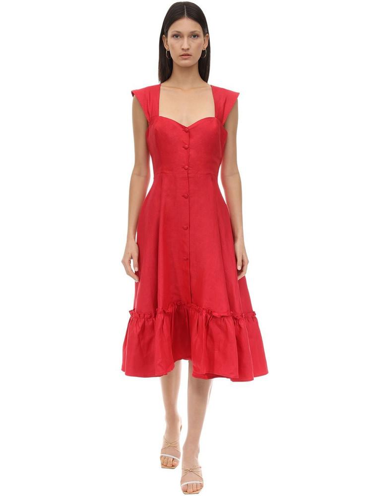 GIOIA BINI Camilla Linen Dress in red