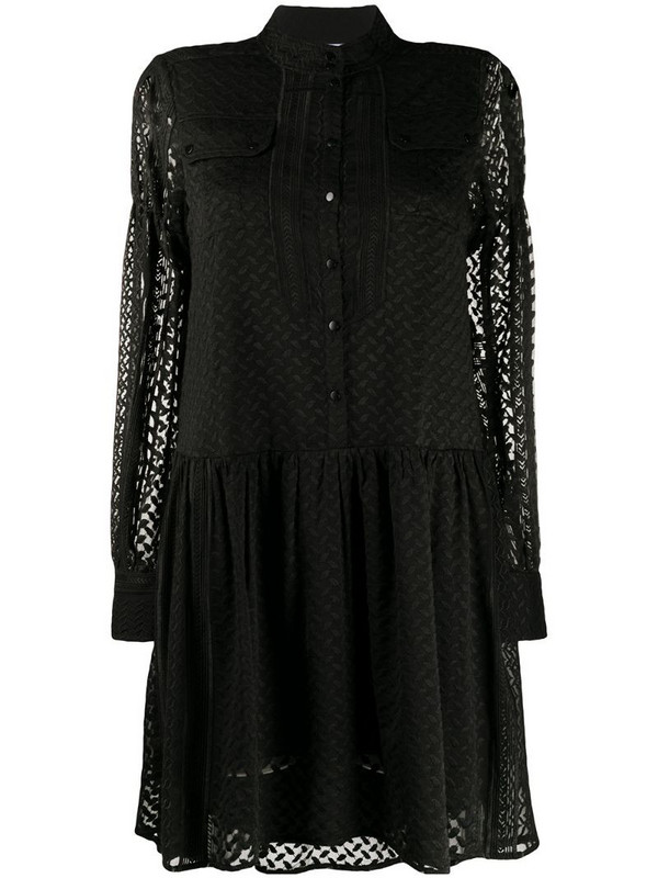 Lala Berlin long-sleeve embroidered dress in black