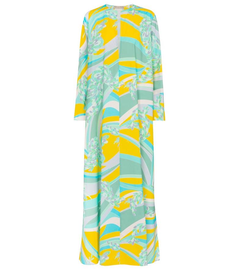 Emilio Pucci Beach Printed cotton poplin maxi dress in blue