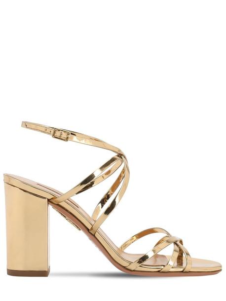 AQUAZZURA 85mm Gin Mirrored Leather Sandals in gold
