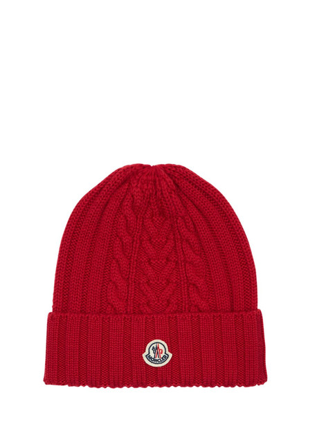 MONCLER Wool Knit Beanie Hat in red