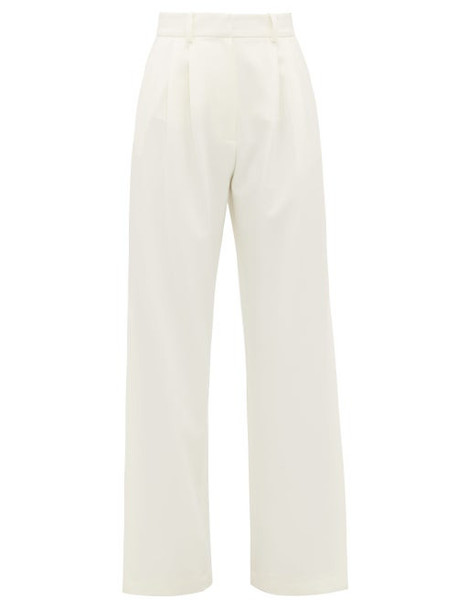 A.w.a.k.e. Mode - Artemon Pleated Wide Leg Technical Crepe Trousers - Womens - Cream