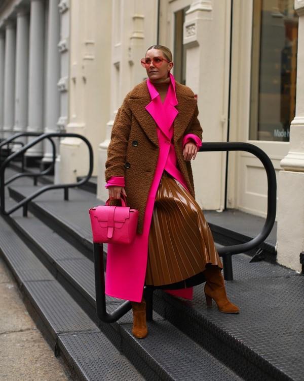 coat pink coat bag knee high boots brown bag pleated skirt turtleneck