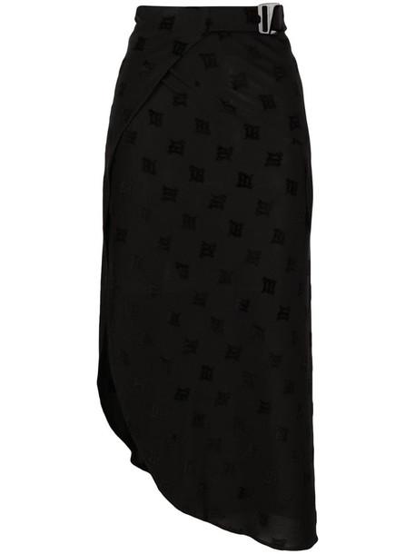 MISBHV monogram embroidered midi skirt in black