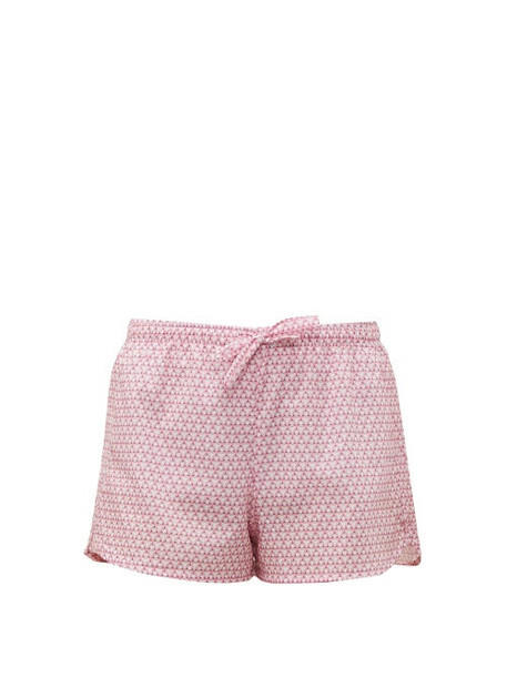 Derek Rose - Ledbury 27 Geometric Printed Cotton Pyjama Shorts - Womens - Pink