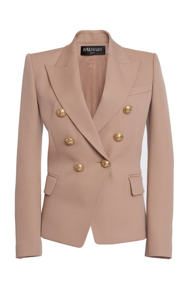 Balmain Double-Breasted Buttoned Wool Blazer in neutral