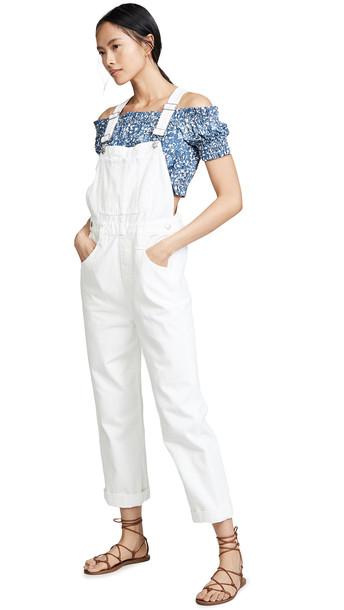 Madewell Straight Leg Overalls in white