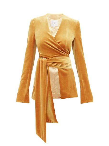Galvan - Winter Sun Velvet Wrap Jacket - Womens - Dark Yellow