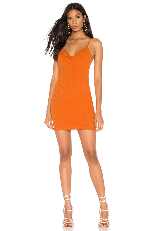 MINKPINK Noida Twist Front Mini Dress in orange