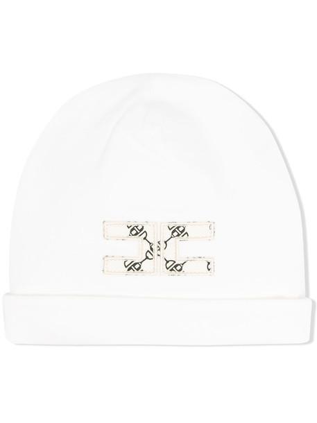 Elisabetta Franchi La Mia Bambina logo patch beanie - White