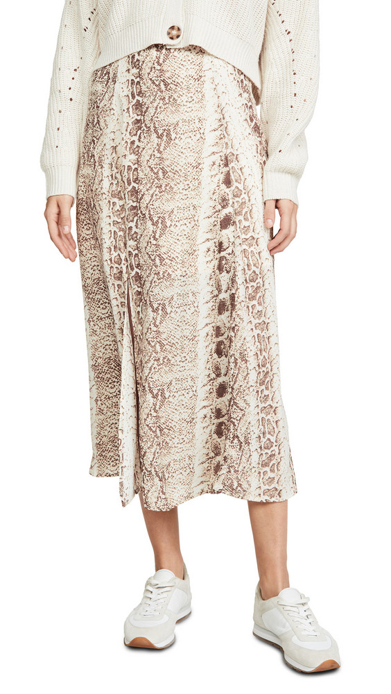 re:named re: named Ethan Snake Midi Skirt in taupe / multi