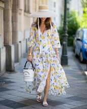 dress,white dress,maxi dress,slide shoes,long sleeve dress,bucket bag,hat