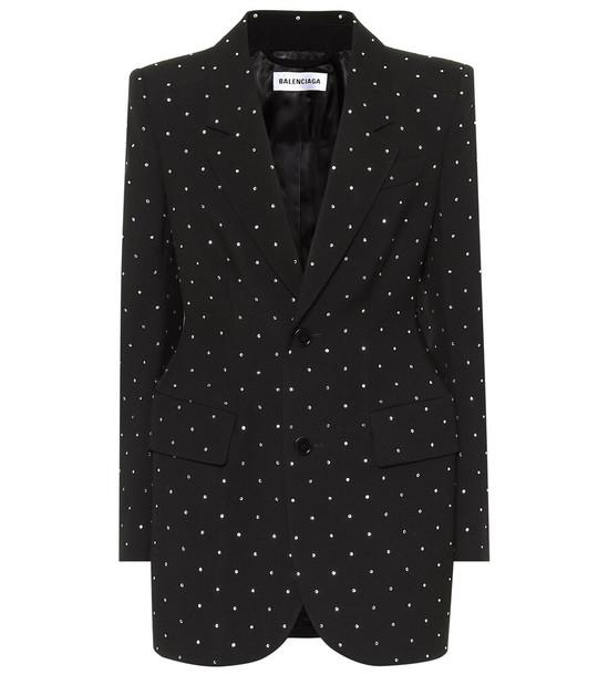 Balenciaga Embellished wool blazer in black