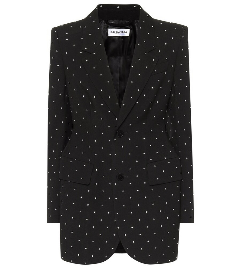 Balenciaga Embellished wool blazer in black