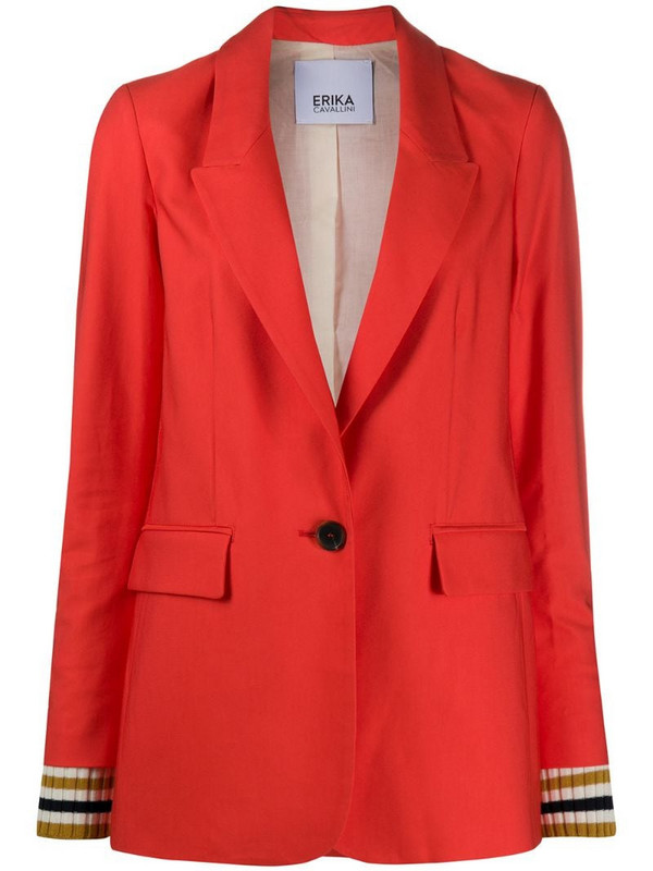 Erika Cavallini boxy fit slit cuff blazer in orange