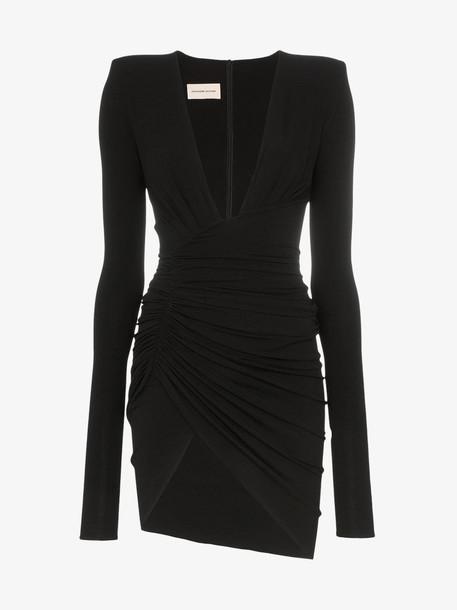 Alexandre Vauthier Deep v-neck ruched mini dress in black