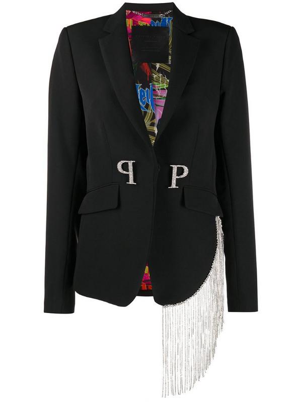 Philipp Plein PP crystal fringe blazer in black