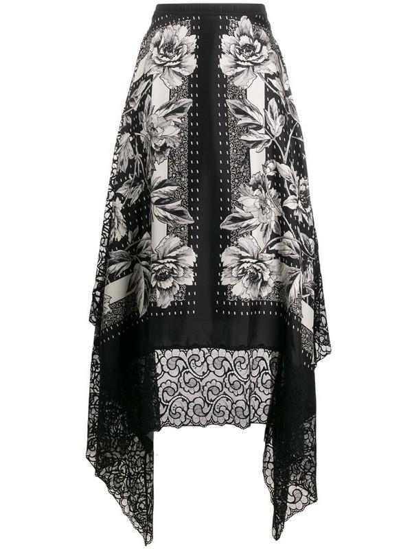 Antonio Marras floral print silk skirt in black