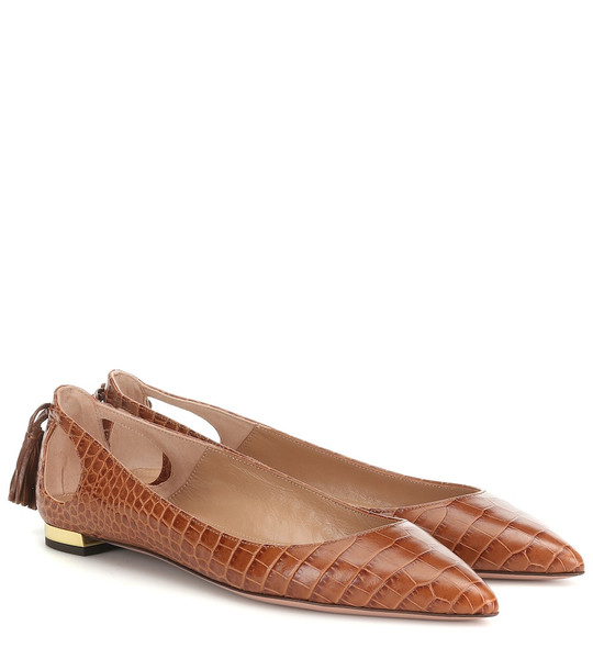 Aquazzura Forever Marilyn leather ballet flats in brown