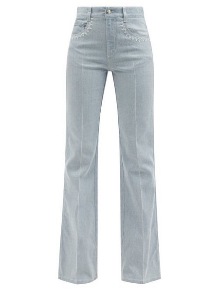 Chloé Chloé - Topstitched High-rise Flared-leg Jeans - Womens - Light Denim