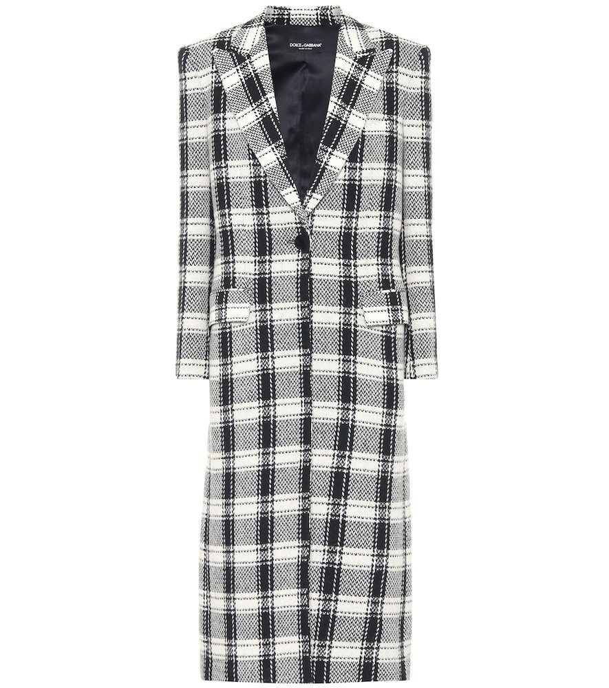 Dolce & Gabbana Checked wool-blend coat in grey