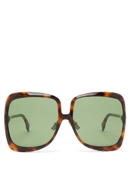 Fendi - Oversized Tortoiseshell Sunglasses - Womens - Tortoiseshell