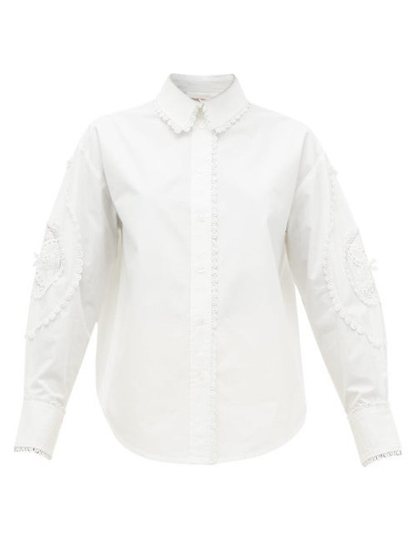 See By Chloé See By Chloé - Broderie-anglaise Cotton-poplin Shirt - Womens - Ivory