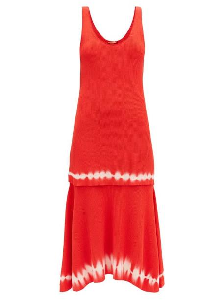 Altuzarra - Shinobu Ribbed-knit Tiered Pima-cotton Midi Dress - Womens - Orange