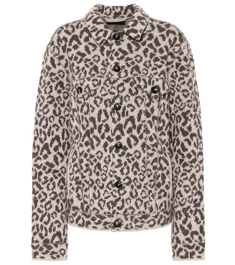 Alanui Leopard-jacquard wool jacket in brown