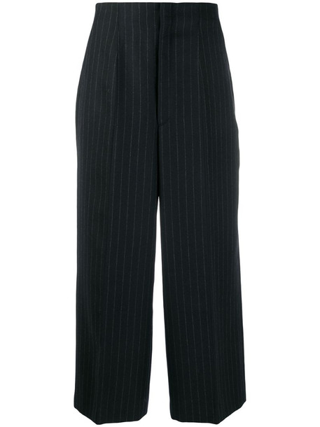 Y's pinstriped tailored trousers in black