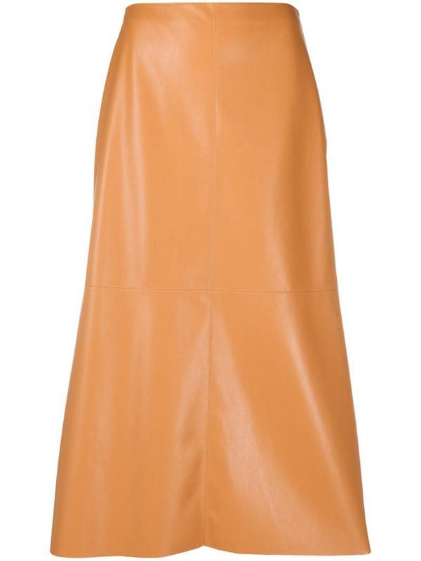Nanushka Zayra vegan leather midi skirt in neutrals